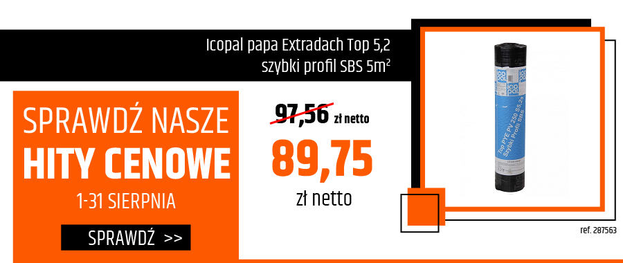 Icopal papa Extradach Top 5,2 szybki profil SBS 5m2
