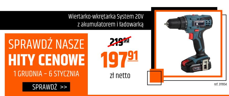 Wiertarko-wkrętarka System 20V z akumulatorem i ładowarką