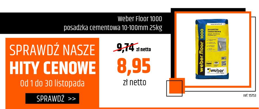 Weber Floor 1000 posadzka cementowa 10-100mm 25kg