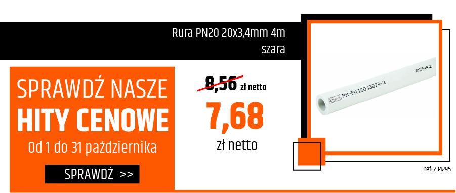Rura PN20 20x3,4mm 4m szara