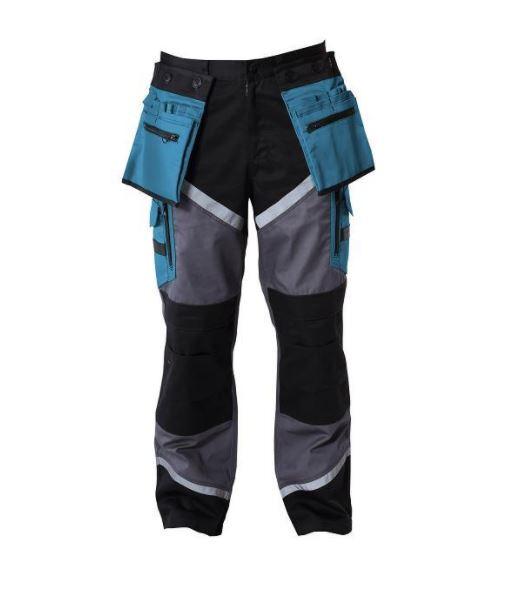 Spodnie czarno-szaro-turkusowe z pasami odblaskowymi M