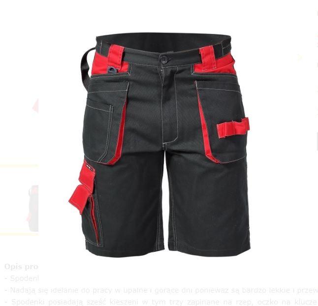 Spodenki krótkie czarno-czerwone 100% bawełna, 245g/m2 L