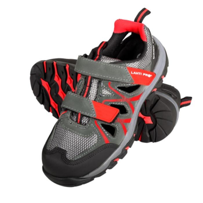 Sandały zamszowe r.45 S1 SRA szaro-czerwone