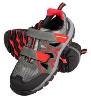 Sandały zamszowe r.47 S1 SRA szaro-czerwone