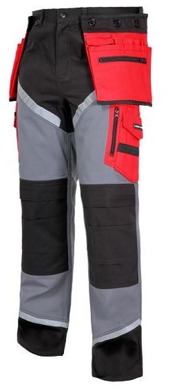 Spodnie z odblaskami XL czarno-szaro-czerwone
