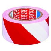 Taśma ostrzegawcza PVC 50mm 33m biało-czerwona Tesa