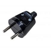 Wtyczka prosta 2P 16A 250V czarna