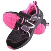 Sandały damskie czarno-różowe zamsz-dzianina S1 SRC 36