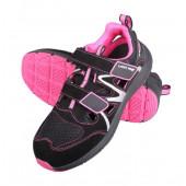 Sandały damskie S1 SRC 37 czarno-różane zamsz-dzianina