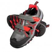 Sandały szaro-czerwone S1 SRA 46 zamsz/dzian