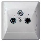 Gniazdo Akcent RTV-SAT końcowe białe