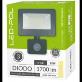 Naświetlacz LED ORO Diodo 20W-G-PIR-EXT-CW